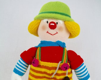 Jean Greenhowe - Knitted Clown - Fix It - Tradesmen Clown - Plumber - Electrician - Handyman - Knitted Doll - Red Nose Gang