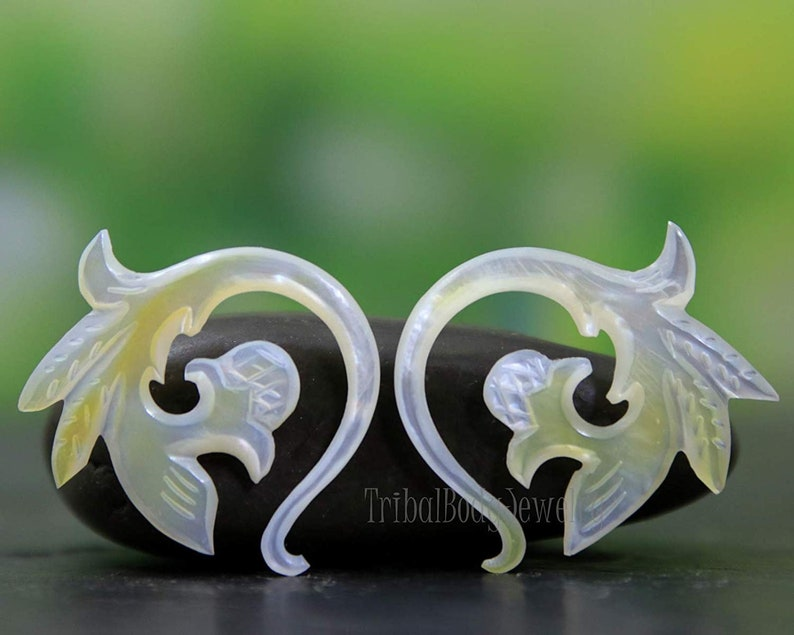 4GA Stretcher Earrings Real Gauge Mother of Pearl 316 Organic Hand Carved AAA Earring Pair 5.0mm