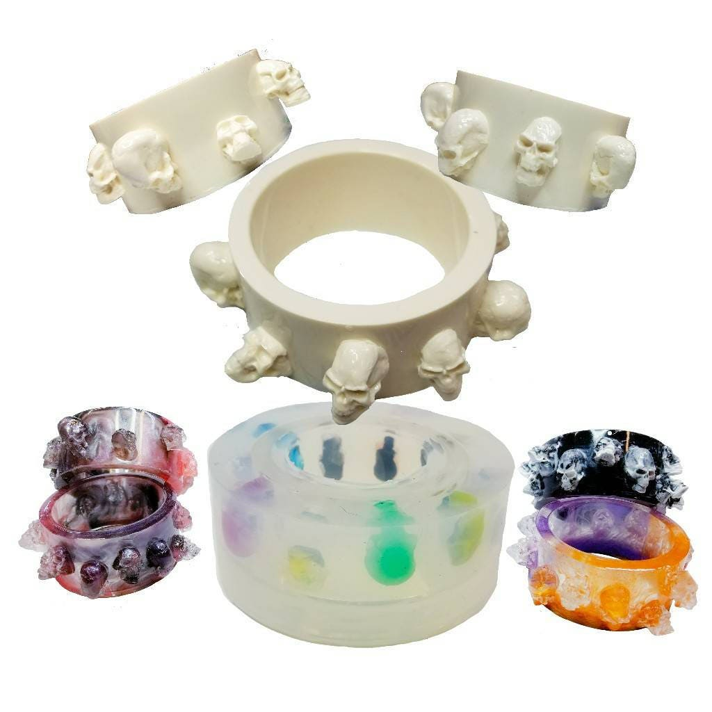 Tête Tête Tête de mort Bracelet moule, moule en résine bracelet, Bracelet souple en Silicone moule, moule bracelet en Silicone transparent, Goth, moule en Bracelet crâne humain, Slider. 077f0f