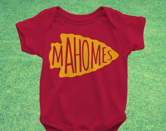 2b8a7b3c1 Kansas City Chiefs Mahomes Baby / Infant Bodysuit or Toddler Shirt - Red