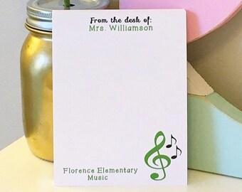 Personalized Music Teacher Notepad - Music Notepad - Teacher gift - teacher notepad - teacher gift - personalized notepad  - music teacher
