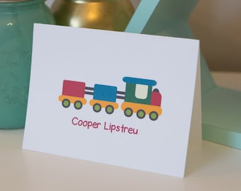 Train Stationery Set - Personalized Kids Stationery - Personalized Boy Notecards - Train Stationery