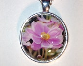 Pink Flower Nature Photo Silver Pendant Necklace