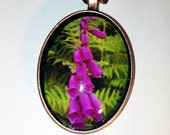Pink Flower Nature Photo Copper Pendant Necklace