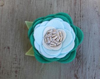 Teal Ombre Felt Flower clip
