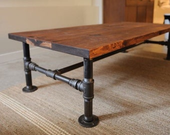 Natural Edge Wood Slab Table With Industrial Metal Pipe Legs Etsy