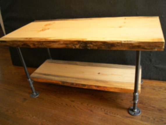 Natural Edge Wood Slab Table With Industrial Metal Pipe