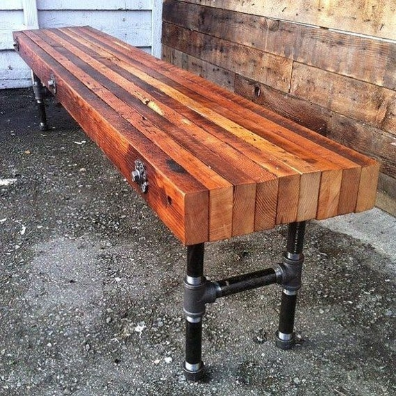 Peachy Industrial Pipe Legs Wood Bench Solid Urban Loft Reclaimed Wood Decorative Metal Lag Screw Detailing Andrewgaddart Wooden Chair Designs For Living Room Andrewgaddartcom
