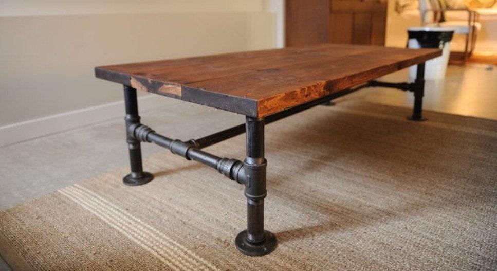 rustic industrial pipe oak wood coffee table metal pipe etsy. Black Bedroom Furniture Sets. Home Design Ideas
