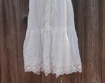 9949d2b0ae0 Antique Victorian slip skirt cotton underslip   eyelet lace tiered  Edwardian petticoat 1900s   boho white lingerie true genuine vintage   S