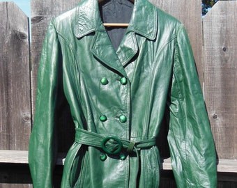 8571651793f 70s vintage green leather jacket coat / forest green mod gogo retro lounge  lizard boho hippie hipster chic / short belted trench M L