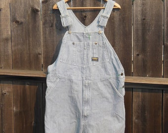 41ea7c6f84 80s vintage overalls cut offs   Osh Kosh bib railroad hickory pin striped  denim work wear   hipster preppy cute artist painter   38 L