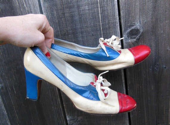 30s vintage lace up oxfords / red white blue leath