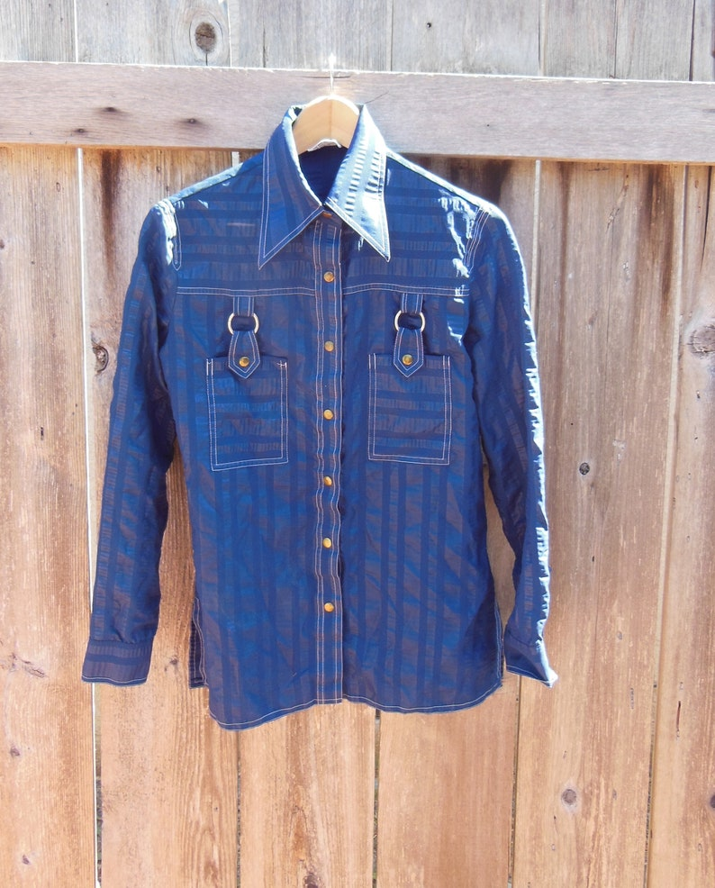 8bfd1a8b8ce11 70s vintage sailor blouse shirt   navy blue striped silver