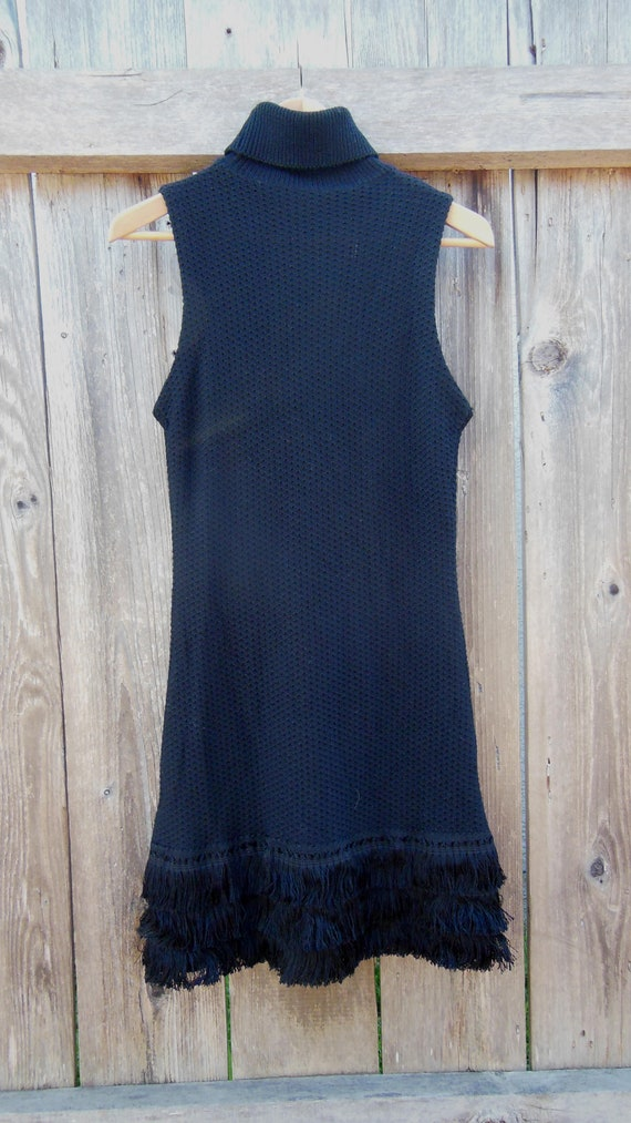 black wool sweater dress turtleneck mini fringe /
