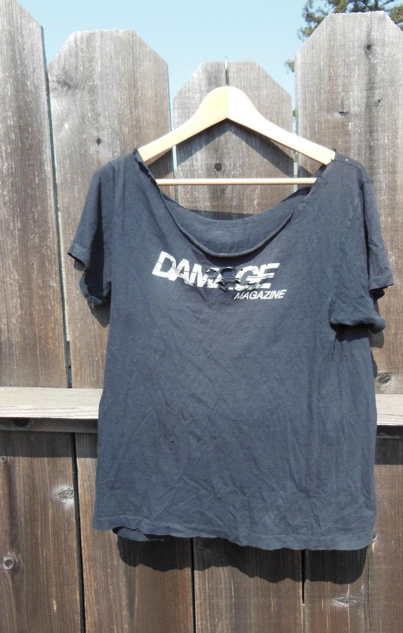 805662b34 Damage Magazine t shirt / thrashed distressed SF punk rock tee | Etsy