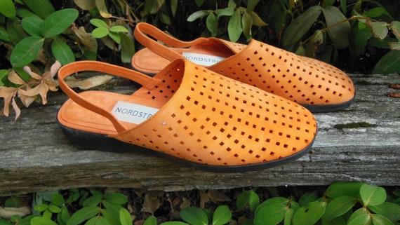 90s vintage orange suede mules / perforated sandal