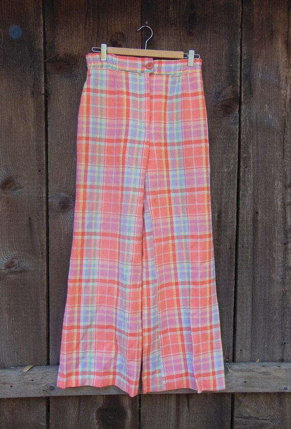 70s vintage plaid slacks pink pastel pants bellbot
