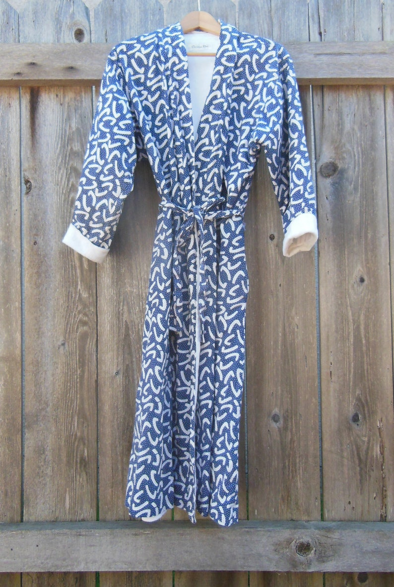 c972b2830e08 SALE    Christian Dior robe dressing gown vintage 80s   blue