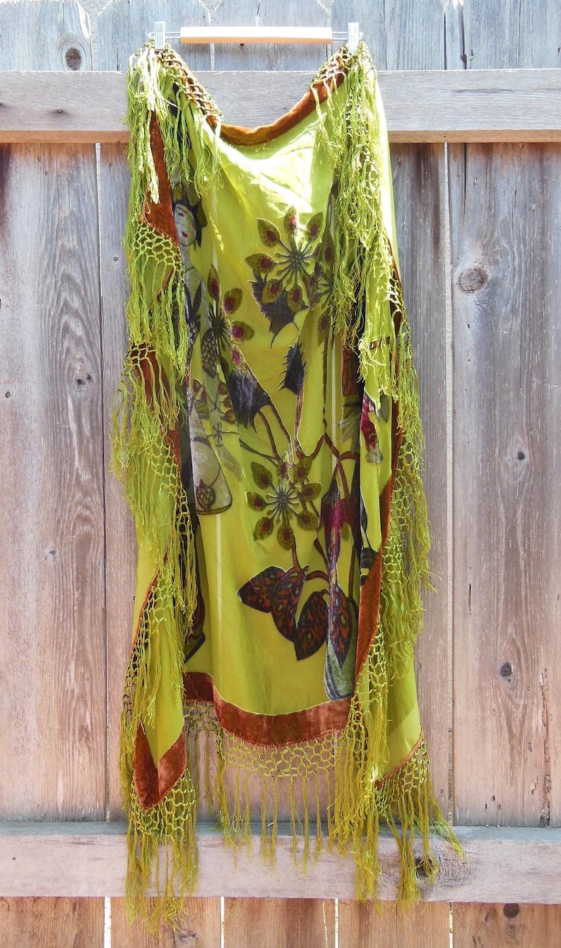 0500ac882e0 80s vintage green velvet fringe scarf wrap   huge silk scenic