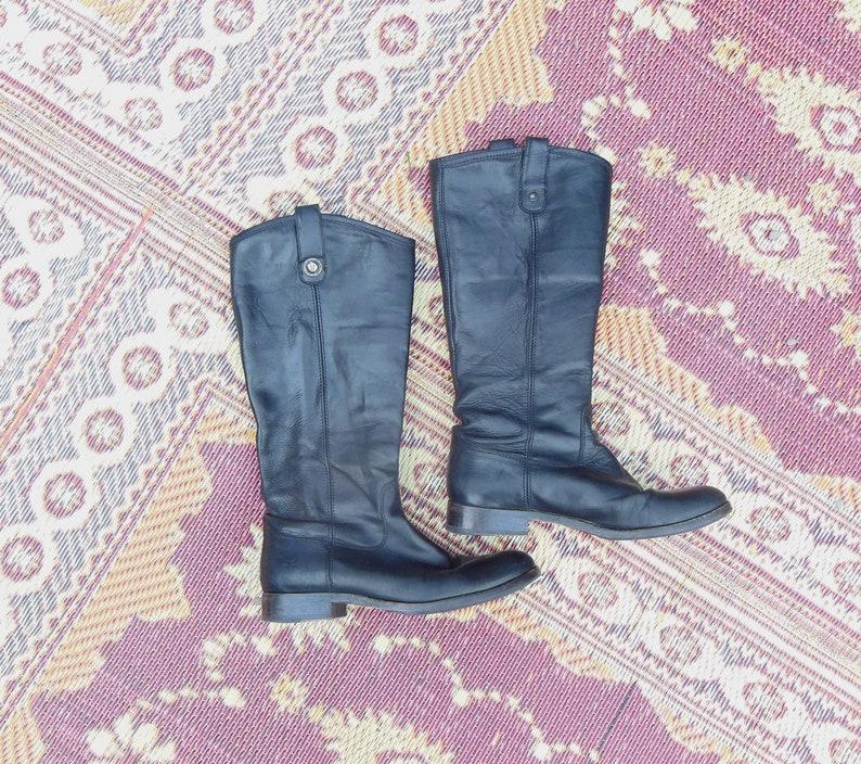 705b31c6087 90s vintage Frye boots / black leather designer riding boots / equestrian  Melissa 77167 brand number / biker motorcycle rocker hipster 7 8