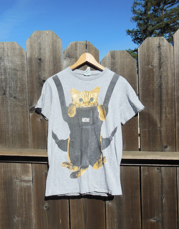 a13cc8f82cd 80s vintage cat baby t shirt   cat kitten carrier animal lover