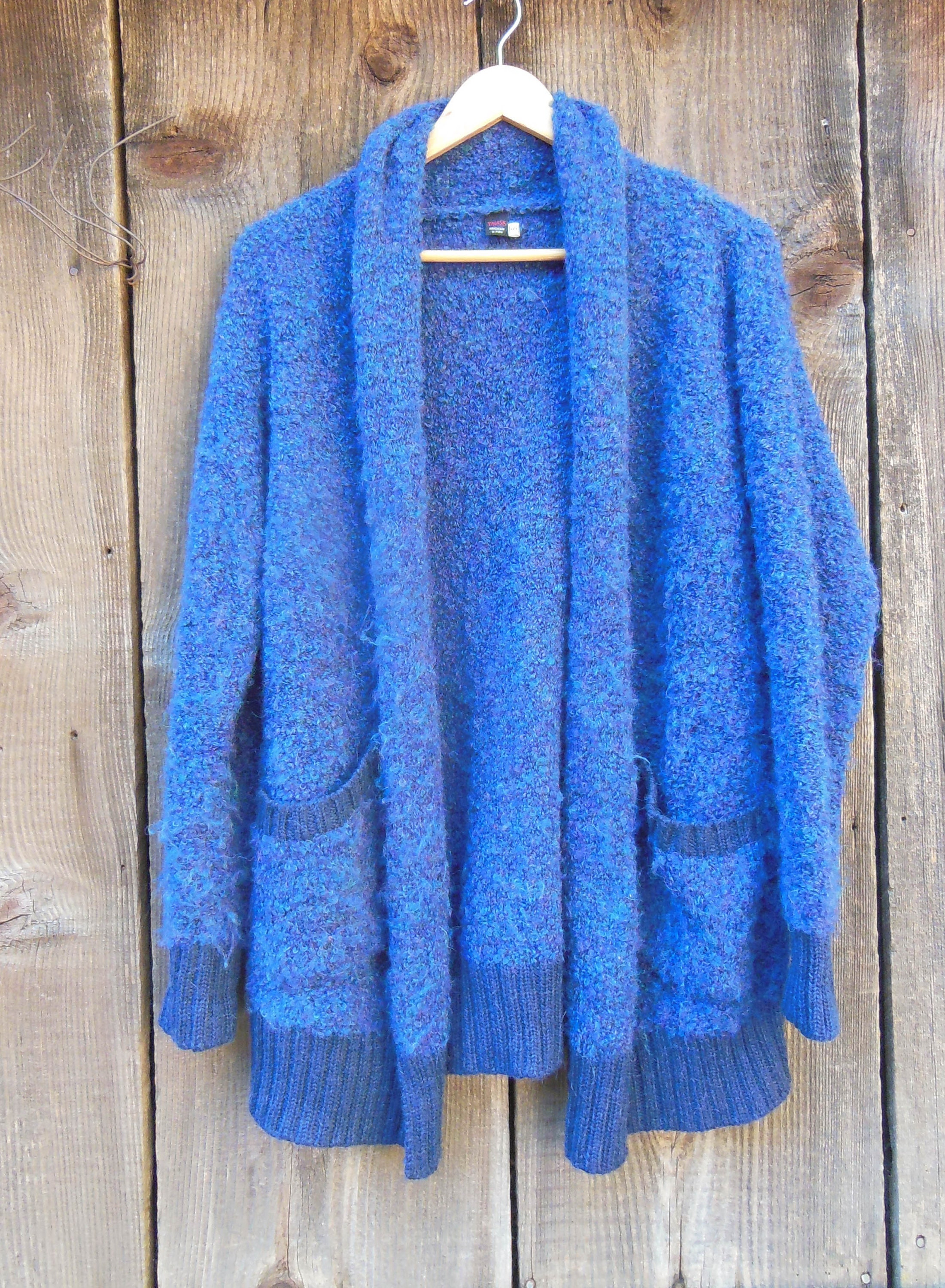 80s Sweatshirts, Sweaters, Vests | Women 80S Vintage Alpaca CardiganWool Blend Sweater Fuzzy Soft Warm Boho Hipster Preppy Classic Winter Wear Long Hanging Pockets Fitted S $68.00 AT vintagedancer.com