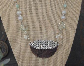 Leather & Rhinestone Necklace