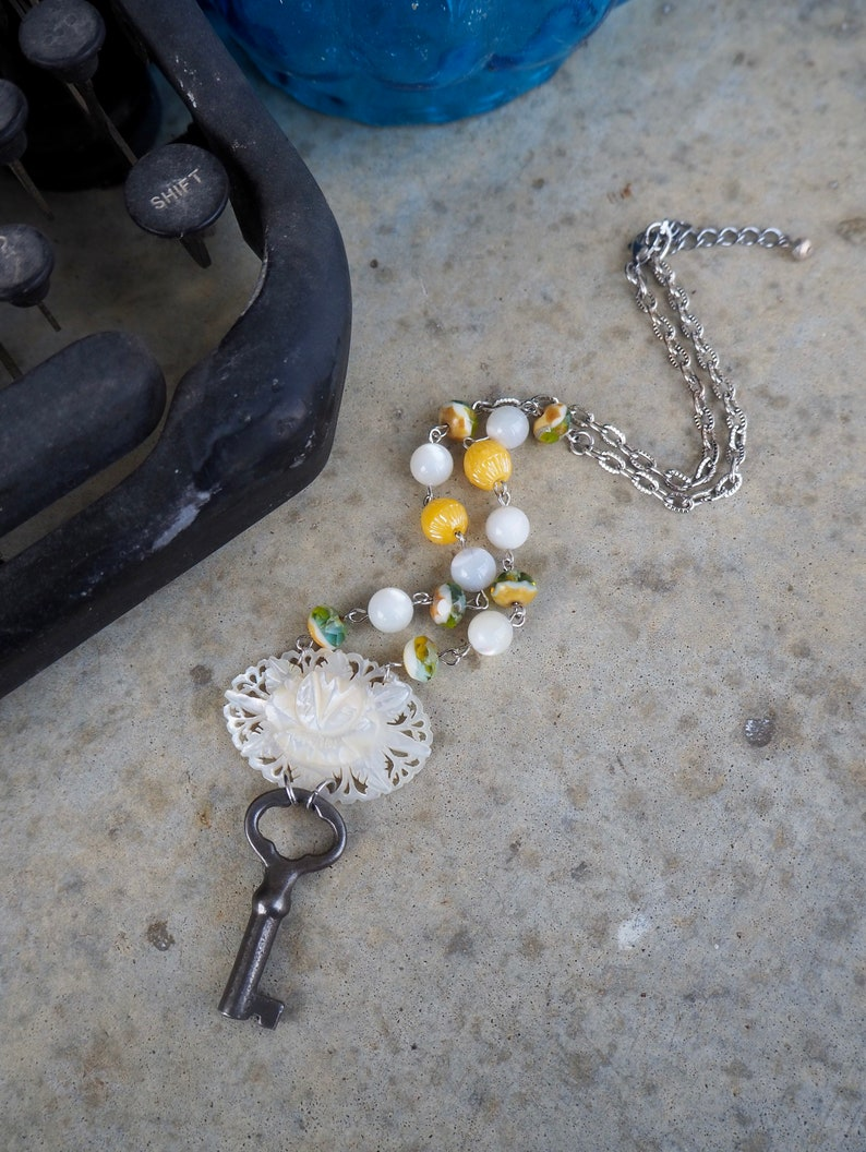 Intricate Intaglio Mother of Pearl Necklace