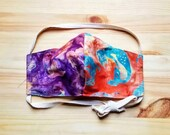 Tie-dye Mermaid Face Mask, Batik Triple Layer Washable Face Mask With Filter, Cotton Face Mask with Wire Nose and Adjustable Ties