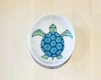 Sea Turtle Oval Bowl, Sea Turtle Ceramic Dish, Sea Turtle Ring Holder, Sea Turtle Spoon Rest, Sea Turtle Ramekin, Sea Turtle Illustration