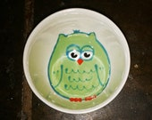 Owl Ceramic Dish, Condiment Dish, Owl Ring Holder, Owl Bowl, Kids Snack Bowl, Owl Pottery, Small Round Hand Painted Bowl, Handmade Pottery
