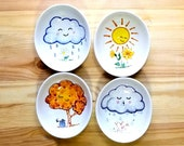 Season Themed Oval Bowl Set, Winter Spring Summer Autumn Bowls, Happy Cloud Bowls, Season Bowl, Cute Seasonal Bowls