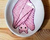 Pink Bat Ramekin, Bat Ceramics, Bat Pottery, Bat Serving Bowl, Bat Ring Holder, Cute Bat, Pink Flying Fox, Olive Oil Serving Dish