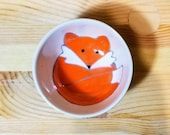 Fox Ceramic Bowl, Hand Painted Fox Dish, Ceramic Sauce Dish, Fox Condiment Bowl, Fox Espresso Cup, Fox Kids Snack Dish, Gift Under 15