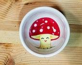 Mushroom Bowl, Happy Mushroom Dish, Ceramic Mushroom Bowl, Mushroom Pottery, Mushroom Ring Dish, Mushroom Spoon Rest, Dip Bowl,