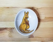 Kangaroo Ceramic Bowl, Oval Ceramic Dish, Kangaroo Ring Holder, Kangaroo and Joey, Condiment Dish, Sauce Bowl, Ceramic Ramekin,