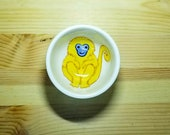 Golden Monkey Bowl, Ceramic Monkey Dish, Monkey Ring Holder, Monkey Snack Bowl, His Dark Material Inspired, Monkey Pottery, Monkey Ramekin