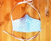 Baby Blue/ Aqua Geometric Design Washable Double Layer Face Mask with Filter Included, Adjustable Reusable Mask with Ties