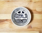 Panda Ceramic Bowl, Small Ceramic Dish, Panda Condiment Dish, Panda Ring Holder, Panda Kids Snack Bowl, Panda Espresso Cup