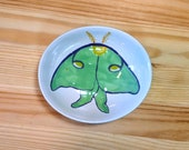 Luna Moth Ceramic Bowl, Luna Moth Spoon Rest, Luna Moth Tea Bag Rest, Luna Moth Illustration, Luna Moth Ramakin, Luna Moth Jewelry Dish