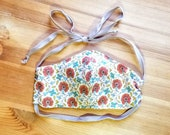 Vintage Inspired Floral Print Face Mask, Washable Face Mask with Filter, Adjustable Ties, 100% Cotton Fabric,