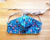 Blue and Copper Deco Print Washable Triple Layer Face Mask, Removable Filter, Adjustable Ties, Washable Filter