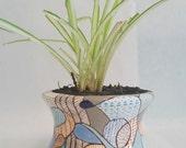 Abstract Line Art Ceramic Planter, Pop Art, Retro Shape, Handmade, Hand Painted Planter, Modern Flower Pot