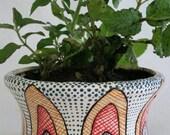 Pop Art Planter, Abstract Abstract Line Art Ceramic Planter, Retro Shape Handmade, Hand Painted Planter, Modern Flower Pot, Peacock inspired