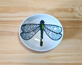 Dragonfly Ceramic Bowl, Oval Dragonfly Spoon Rest, Dragonfly Ceramic Ramakin, Dragonfly Illustration, Dragonfly Art