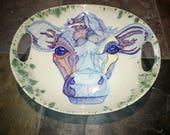 Custom Handled Platter, Colorful Animals, Custom Pet Portraits, Ceramic Platter