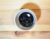 Black Cat Bowl, Halloween Dish, Black Cat Pottery, Black Cat Ring Holder, Black Cat Art, Black Cat Illustration. Black Cat Sauce Bowl