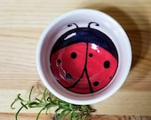 Ladybug Ceramic Bowl, Animal Inspired Sauce Dish, Ladybug Ring Holder, Ceramic Ring Holder, Ceramic Espresso Cup, Ladybug Art