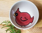 Cardinal Ceramic Sauce Bowl, Small Virginia Red Bird Bowl, Cardinal Pottery, Red Bird Handmade Pottery, Animal Inspired Bowl, Kid Snack Bowl